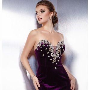 Jovani velvet plum strapless prom evening gown